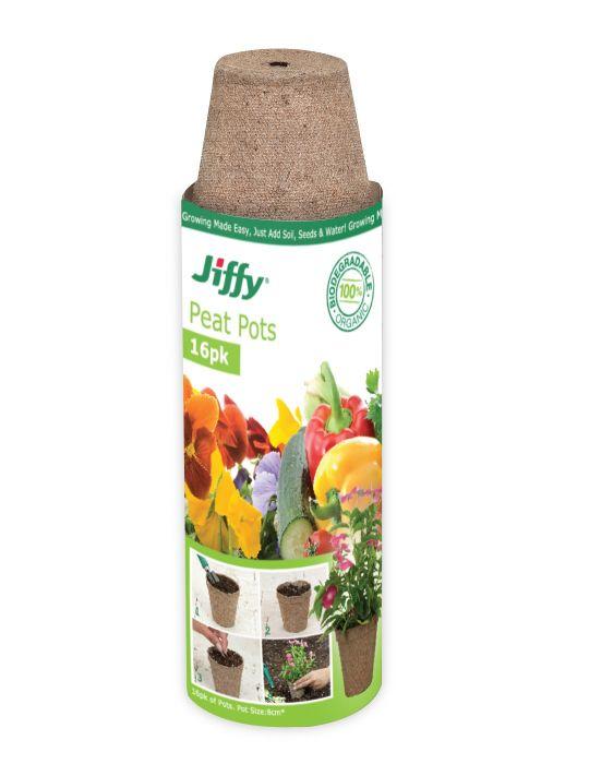 Jiffy 8cm Round Peat Pots (16 pots)