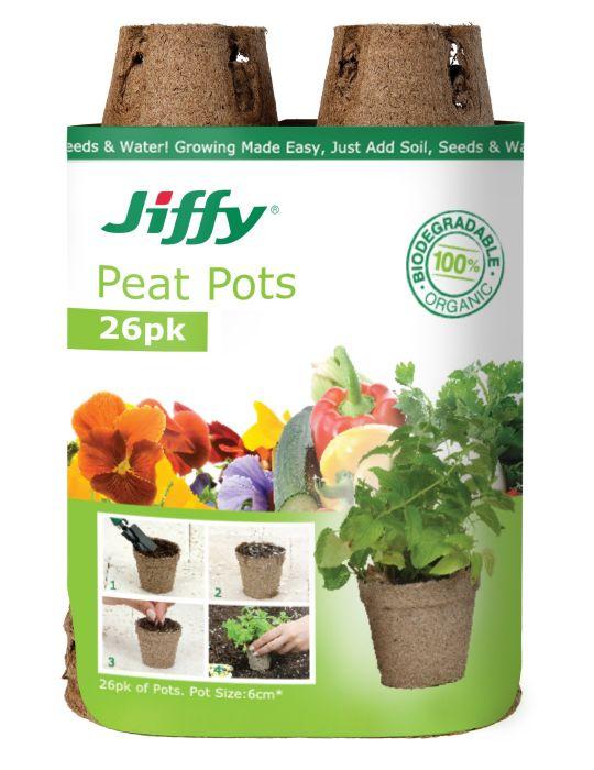 Jiffy 6cm Peat Pots (26 pots)