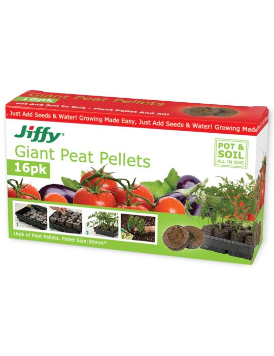 Jiffy Giant 50mm peat pellets (box of 16)