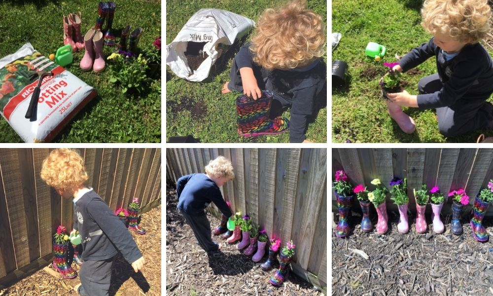 Gum Boot Planter step by step